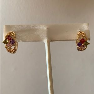 Jewelry - 4 color rainbow stone gold plated Earrings